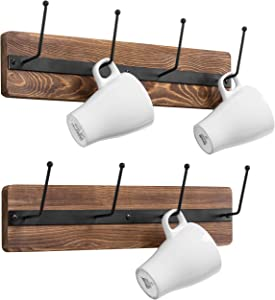 MyGift 4-Hook Rustic Burnt Wood & Metal Wall Mounted Mug Racks, Set of 2