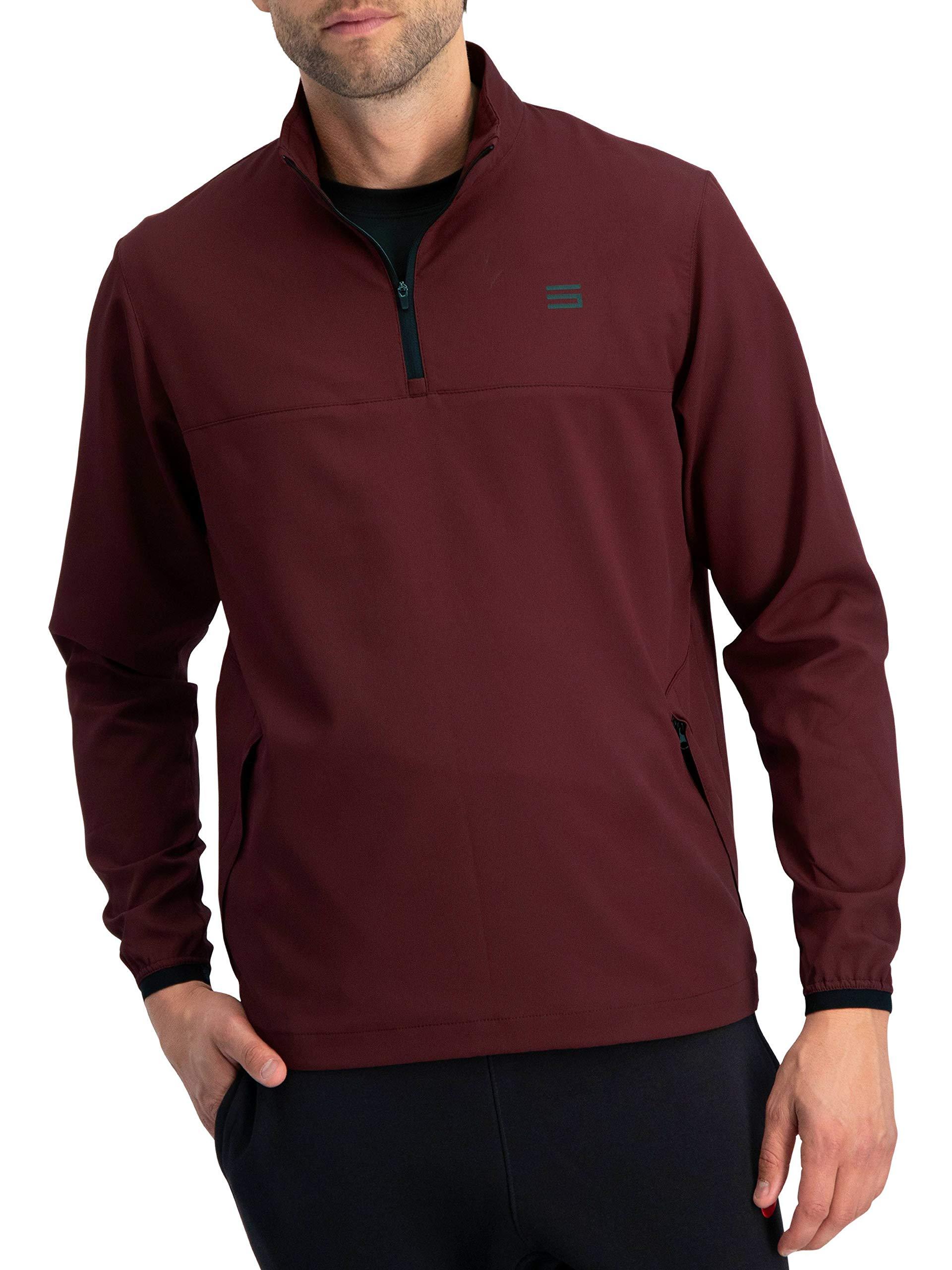 Mens Windbreaker Jackets - Half Zip Golf Pullover Wind Jacket - Vented, Dry Fit Dark Burgundy by Three Sixty Six