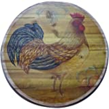 Boston Warehouse Hand Crafted Wood Lazy Susan and Turntable, Tustic Rooster
