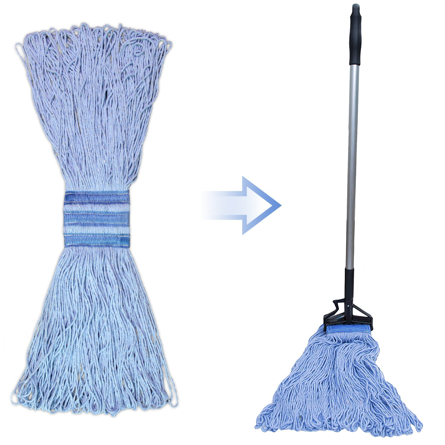 Bonison 24 oz Cotton Easy Wring Saddle Mop Head Refill, 24 oz Heavy Duty Looped-End String Swinger Style Replacement Mop Head, for Home, Commercial, and Industrial Use (Blue, 24 oz) by Bonison (Image #3)