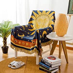 MayNest Sun And Moon Stars Hippie Throw Blanket Celestial Tapestry Double-sided Reversible Woven Cotton Home Decor Bedding Chair Couch Recliner Cover Loveseat Rug Oversized Tassels Blue Yellow (51x71)
