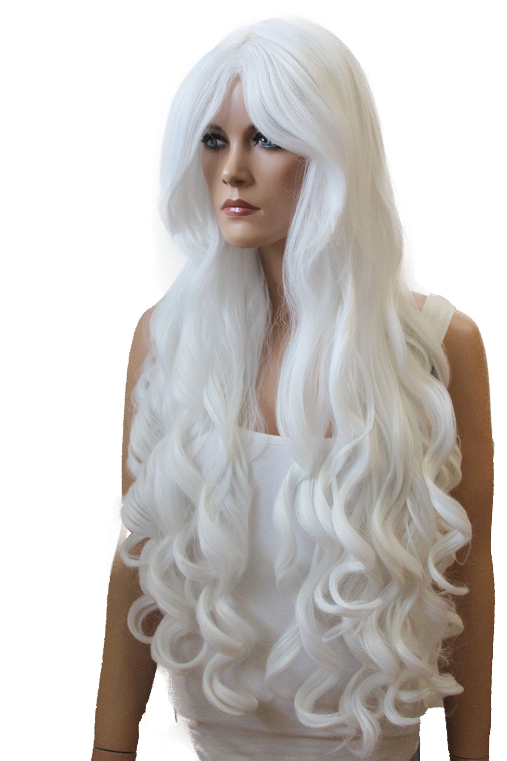 PRETTYSHOP Peluca de pelo largo rizado de fibra sintética resistente al calor rubio CP12 product image