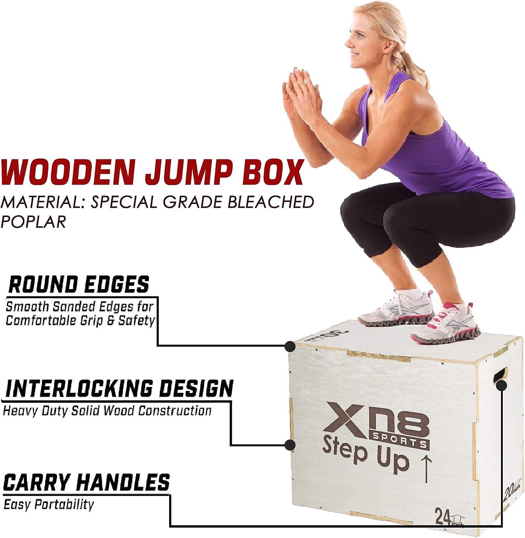 XN8 Wooden Plyometric Jump Box Fitness Exercise Training Step Block Gym Squat