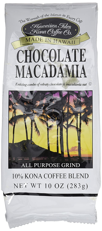Hawaiian Isles Kona Coffee Co. Kona Chocolate Macadamia Nut Ground Coffee, Medium Roast, 10 ounce bag