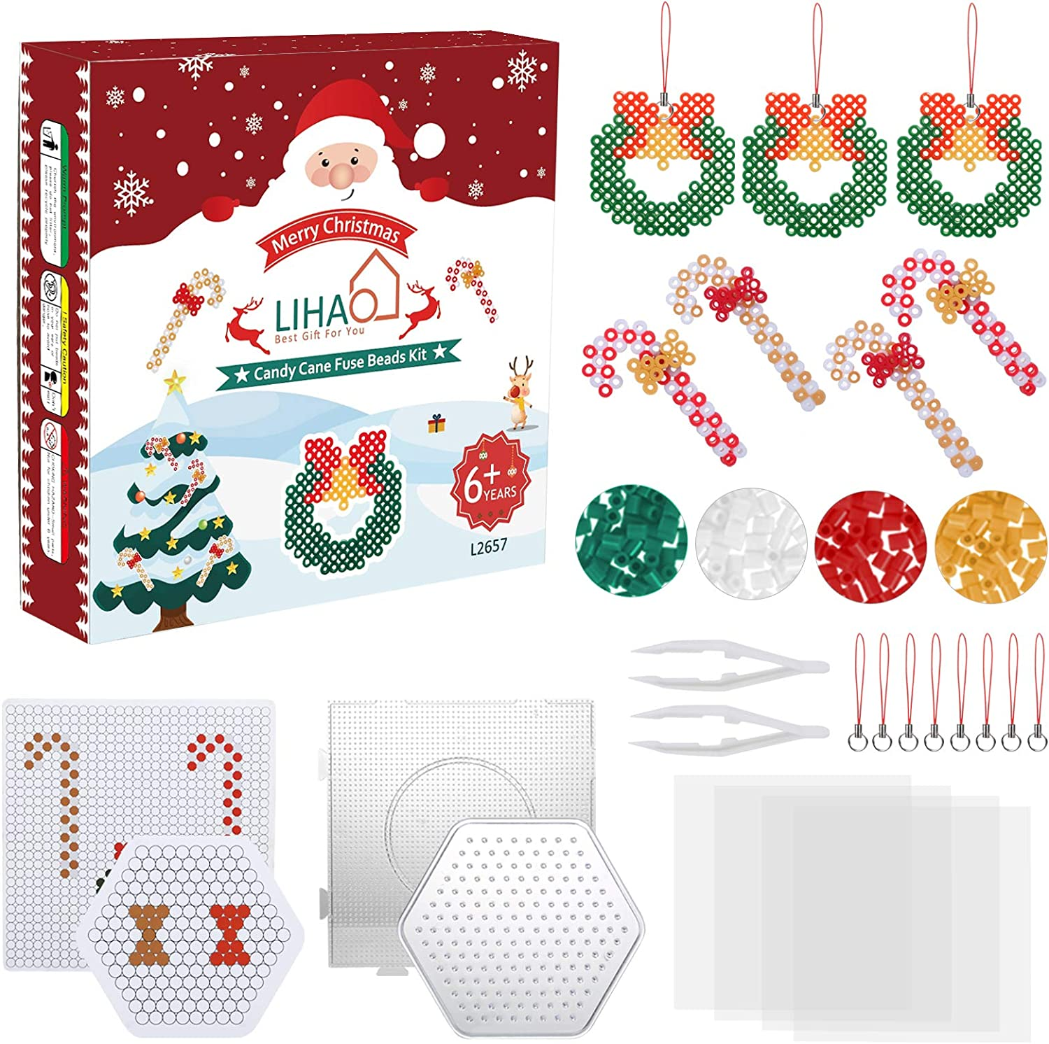 Perfect Kids Party Favor Made Christmas Tree Ornaments Yourself 2100 Pcs Christmas Candy Cane Fuse Beads Kit