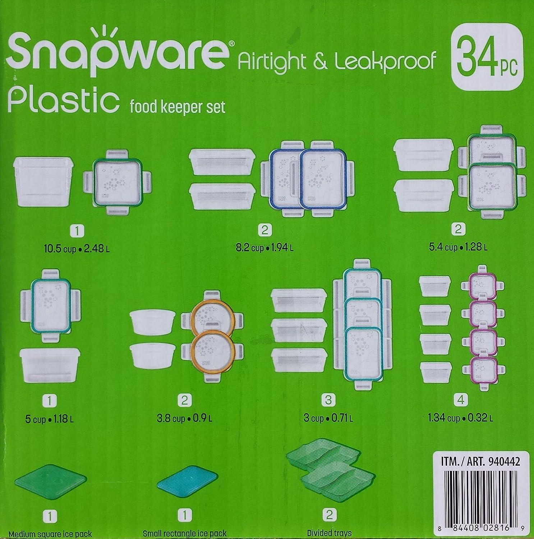 Amazon.com: NUEVO 34 Pc Snapware – Bote hermético ...