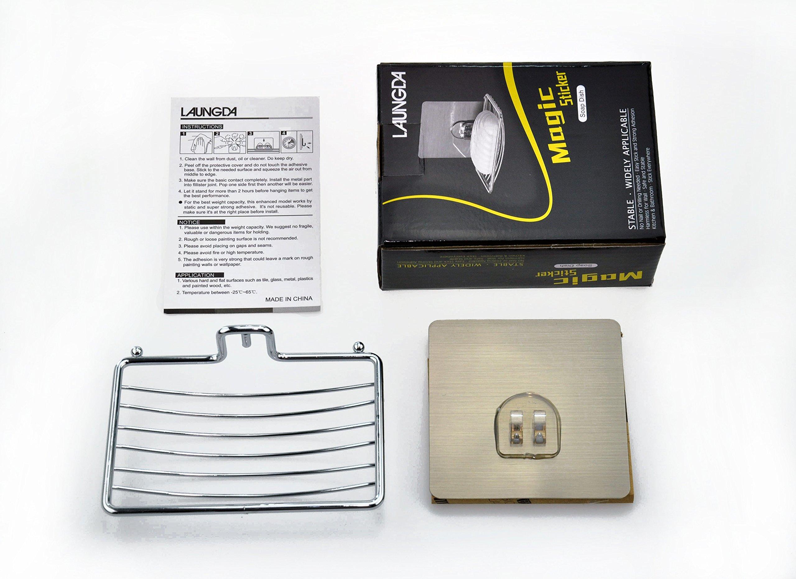 Laungda Soap Dish Adhesive Soap Holder Chrome Soap Dish Holder For