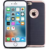 iphone 6 Case, Arae Apple Iphone 6 4.7 [Shock-Absorption] Hybrid Dual Layer Protective Case,Drop Protection [Brushed Metal Texture] cover for Apple iphone 6 4.7 (Rose gold)