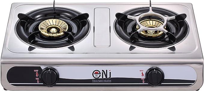 NJ - Anafe para cocción a gas, modelo NGB-60, con 2 quemadores, de acero inoxidable, 60 cm, de gas GLP, para un uso al aire libre: Amazon.es: Jardín