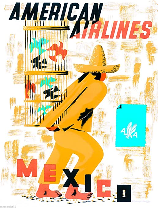 American Airlines Mexico Mexican Senorita Vintage Travel Advertisement Poster