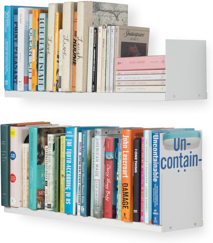Wallniture Libro Wall Mountable Metal U Shape Multipurpose Bookshelf CD DVD Storage 24 Inches Display Rack in White Set of 2