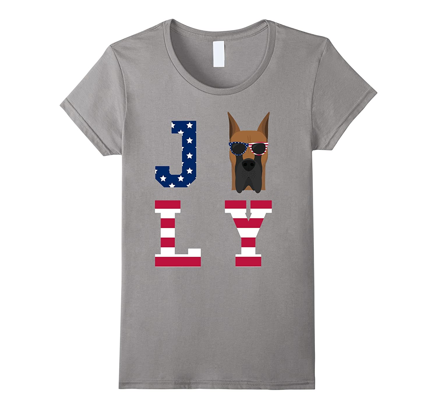 4th of July – Great Dane American Flag Dog T-Shirt