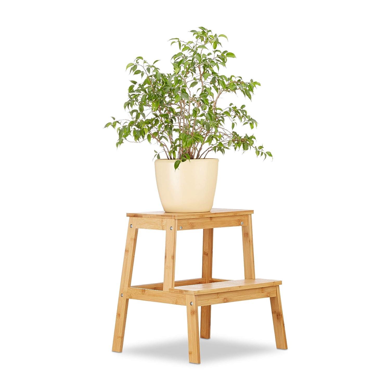 Relaxdays Tabouret de Jardin en Bambou avec 2 Niveaux Aspect Naturel Hauteur 47 x 42 x 42 cm