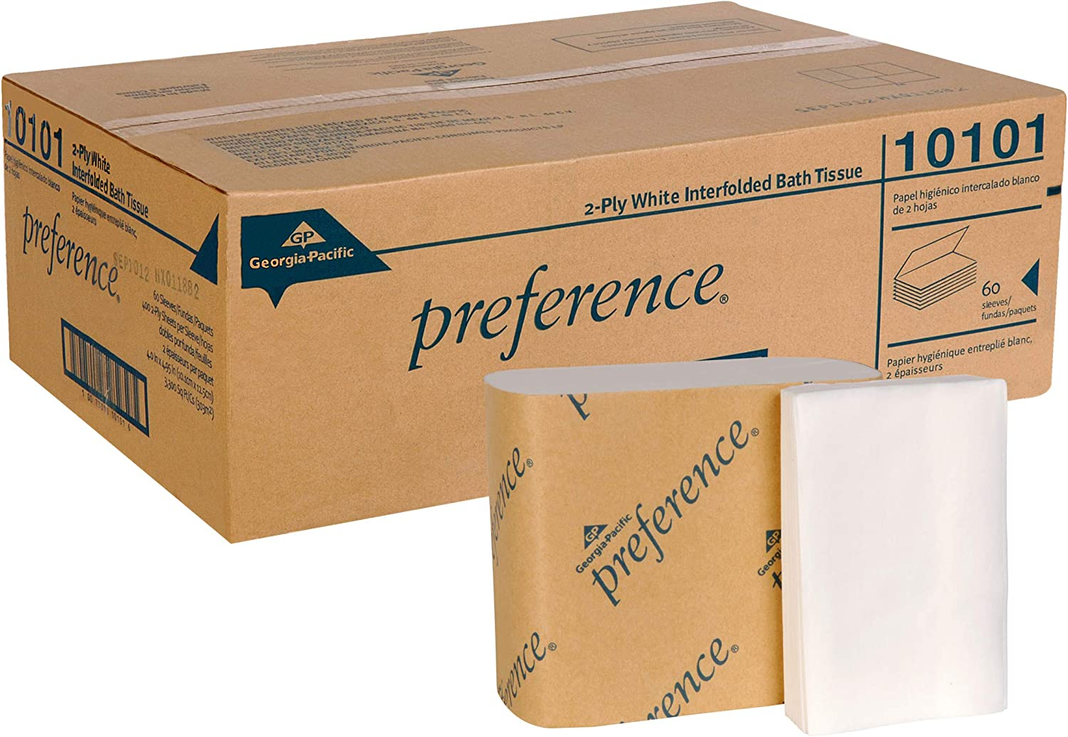 Preference 2-Ply Interfolded Toilet Paper by GP PRO (Georgia-Pacific), 10101, 400 Sheets Per Pack, 60 Packs Per Case, White