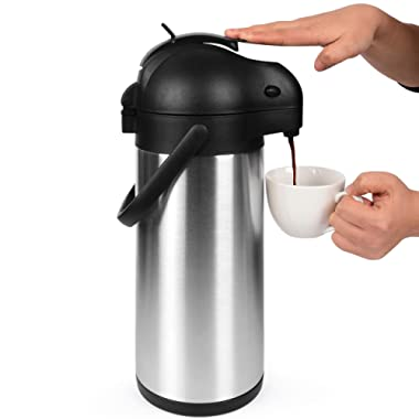 101 Oz (3L) Airpot Thermal Coffee Carafe/Lever Action/Stainless Steel Insulated Thermos / 12 Hour Heat Retention / 24 Hour Cold Retention