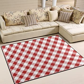 Amazon.com: YZGO White Red Gingham Plaid Kids Area Rug,Classic ...