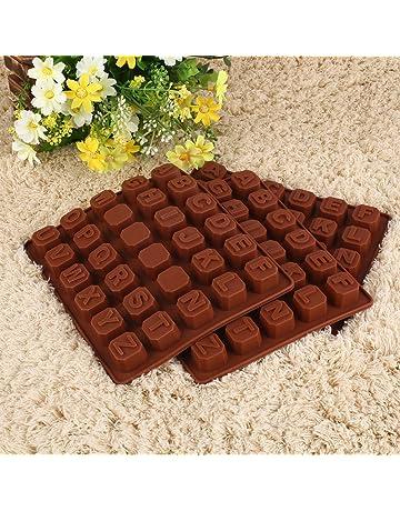 Forfar Molde de Chocaloate Profesional Silicona Letters Alphabet Cake Fondant Molde Caramelo de las galletas del