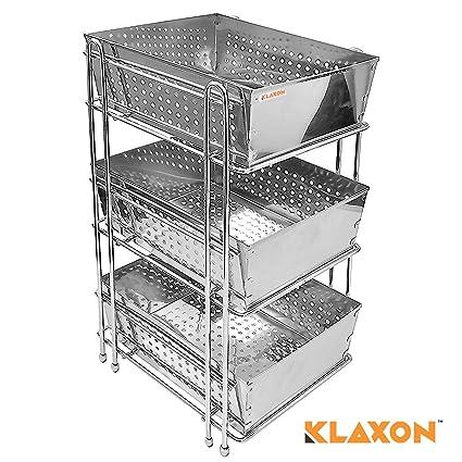klaxon stainless steel three shelf kitchen basket silver amazon rh amazon in stainless steel basket for modular kitchen stainless steel basket for modular kitchen