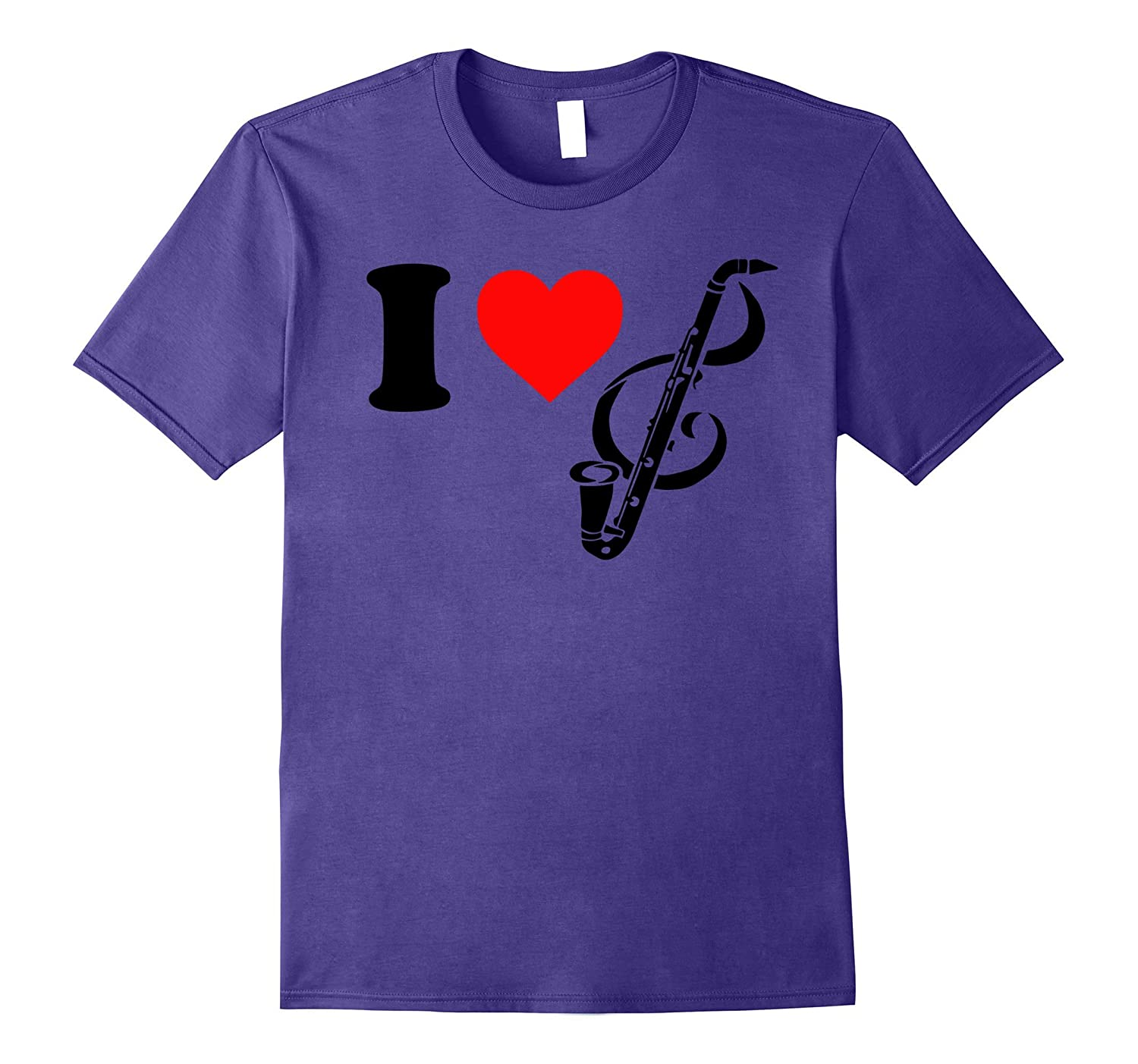 I love heart bass clarinet t-shirt men, women, kid's-BN