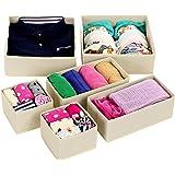 SONGMICS Closet Underwear Organizer Drawer Divider Bra Storage Set of 6 Beige URDB16M