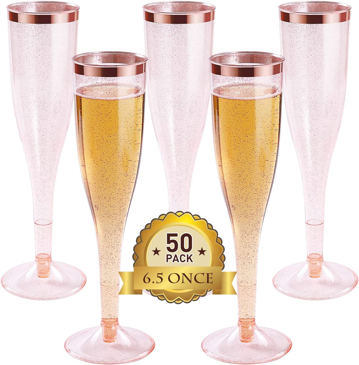 Amazon Com Plastic Champagne Flutes With Rose Gold Glitter And Rose Gold Rim Reusable Disposable Champagne Flutes Glasses For Wedding Party Cocktail Celebration 6 5oz 50pack Champagne Glasses