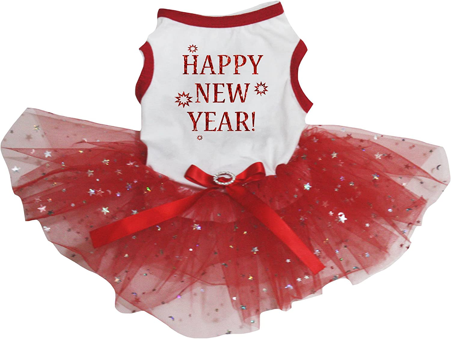 Puppy Dress in Scarelt Red with Butterfly Sleeves and a frilly ruffle in a Zoo Motif with a cute Yellow bow Puppy Clothes