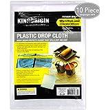 KINGORIGIN 10 Piece Drop Cloth Sheet,plastic drop cloth,for paint rollers,painters 9x12Feet 90004A