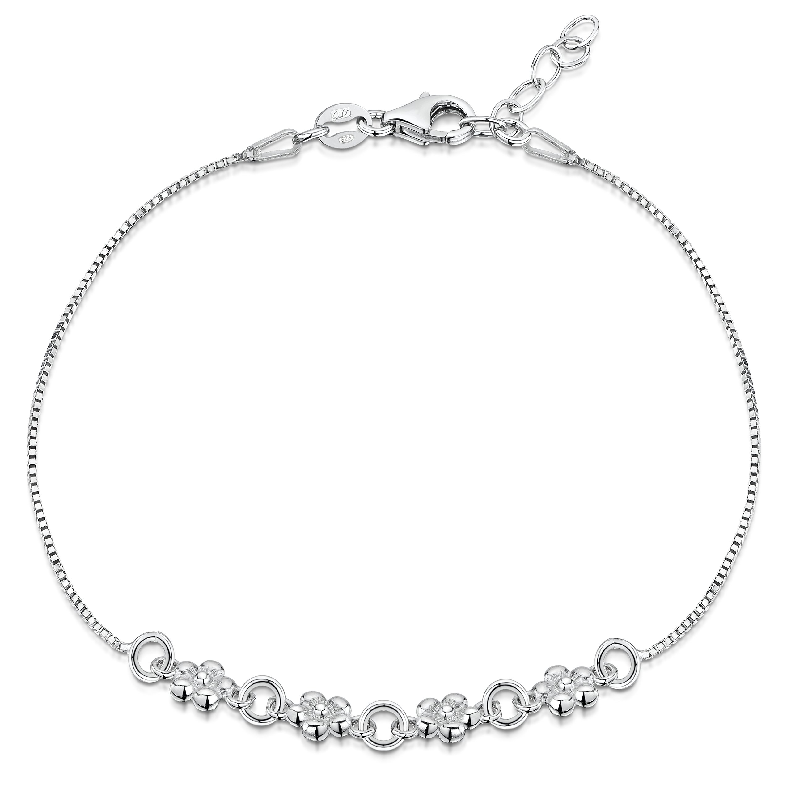 Amberta 925 Sterling Silver Adjustable Ankle Bracelet - 1 mm Box Chain Anklet with Flowers - 9'' to 10'' inch - Flexible Fit