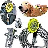 Wondurdog Deluxe Dog Wash Kit for Shower | Chrome Water Sprayer Brush & Rubber Shield w/Water Pressure Control | Indoor…
