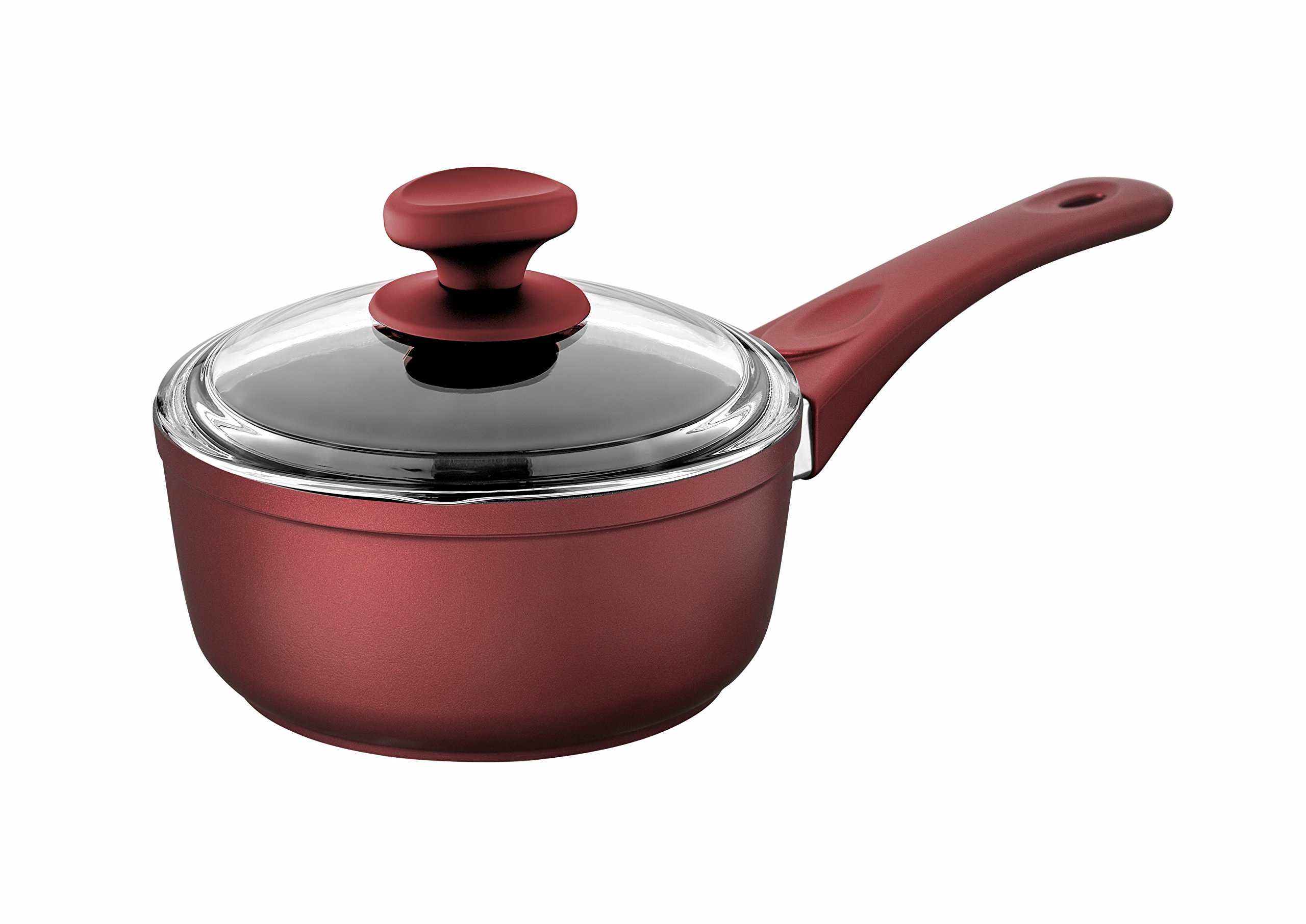Saflon Titanium Nonstick 1.5-Quart Sauce Pan with Tempered Glass Lid, 4mm Forged Aluminum with PFOA Free Coating from England (Red)