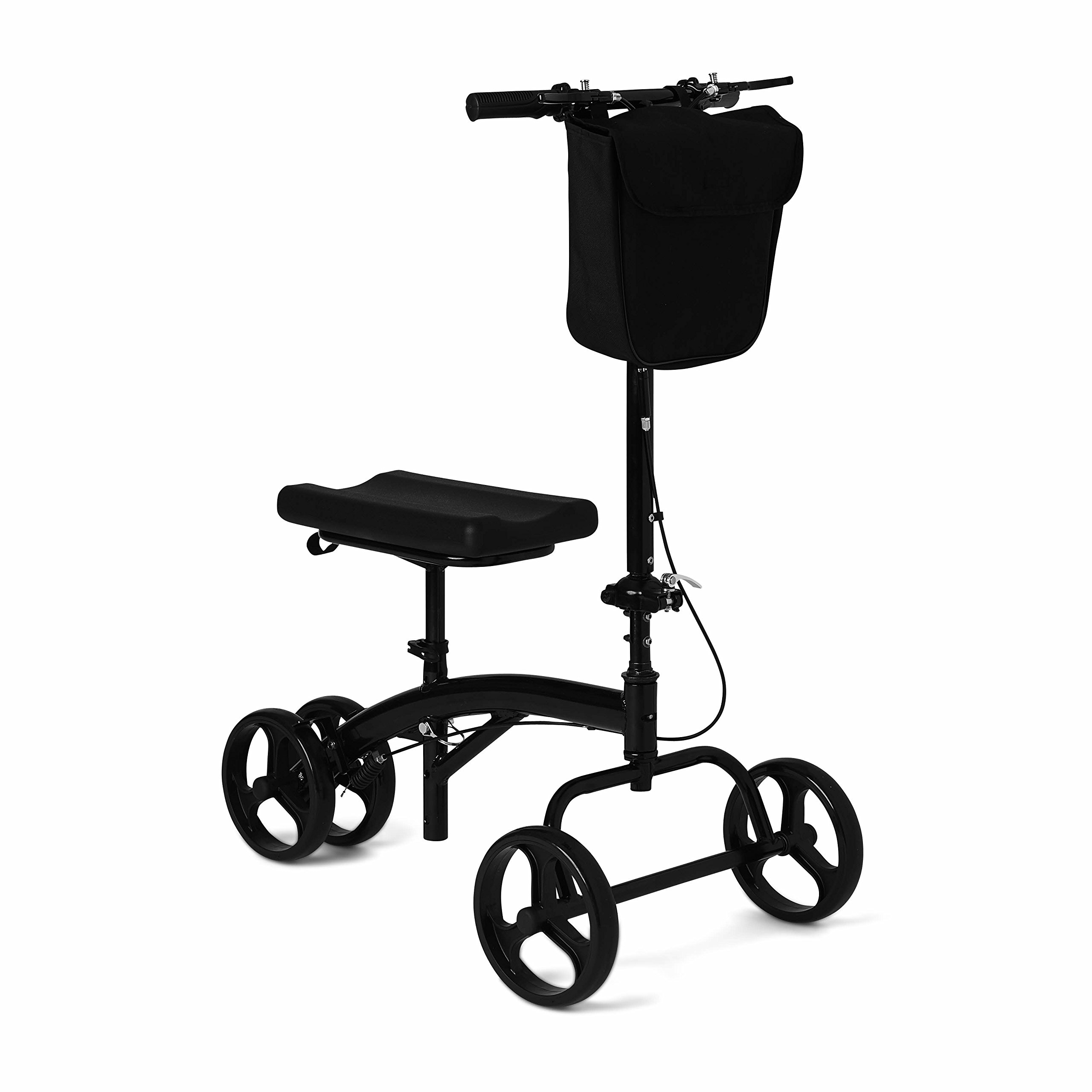 Healthcare Direct 100KW Steering Knee Walker with Hand Brakes, Basket Adjustable Height