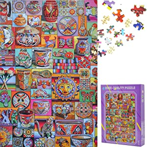 Qeho Jigsaw Puzzles for Adults 1000 Piece - Colorful World - Wooden Puzzle, Entertainment Family Games for Home Decor