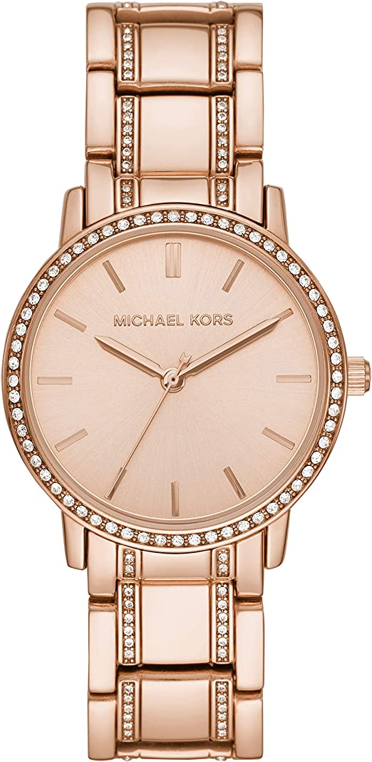 Michael Kors Women's Melissa Quartz Watch with Stainless Steel Plated Strap, Rose Gold, 18 (Model: MK3538)