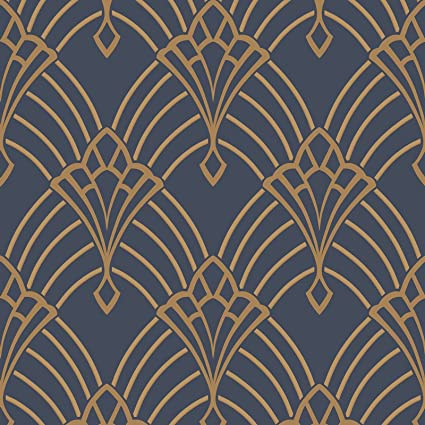 Astoria Deco Wallpaper Dark Blue And Gold Rasch 305340 Amazon Co Uk