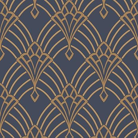 Astoria Deco Papier Peint Sombre Bleu Et Or Rasch 305340 Amazon Fr