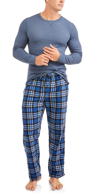 05ce7598e2 Hanes Mens Adult Xtemp Long Sleeve Crew Shirt   Fleece Plaid Pant Pajamas  PJ Set at Amazon Men s Clothing store