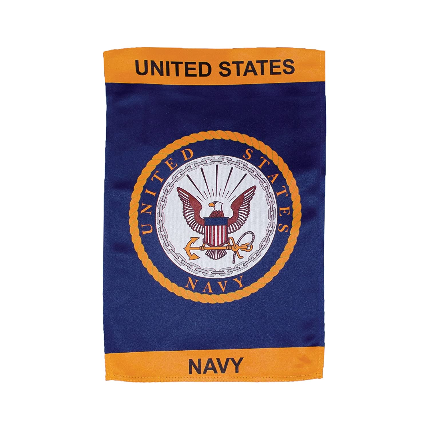 In the Breeze U.S. Navy Emblem Lustre Garden Flag - Double Sided Military Service Flag