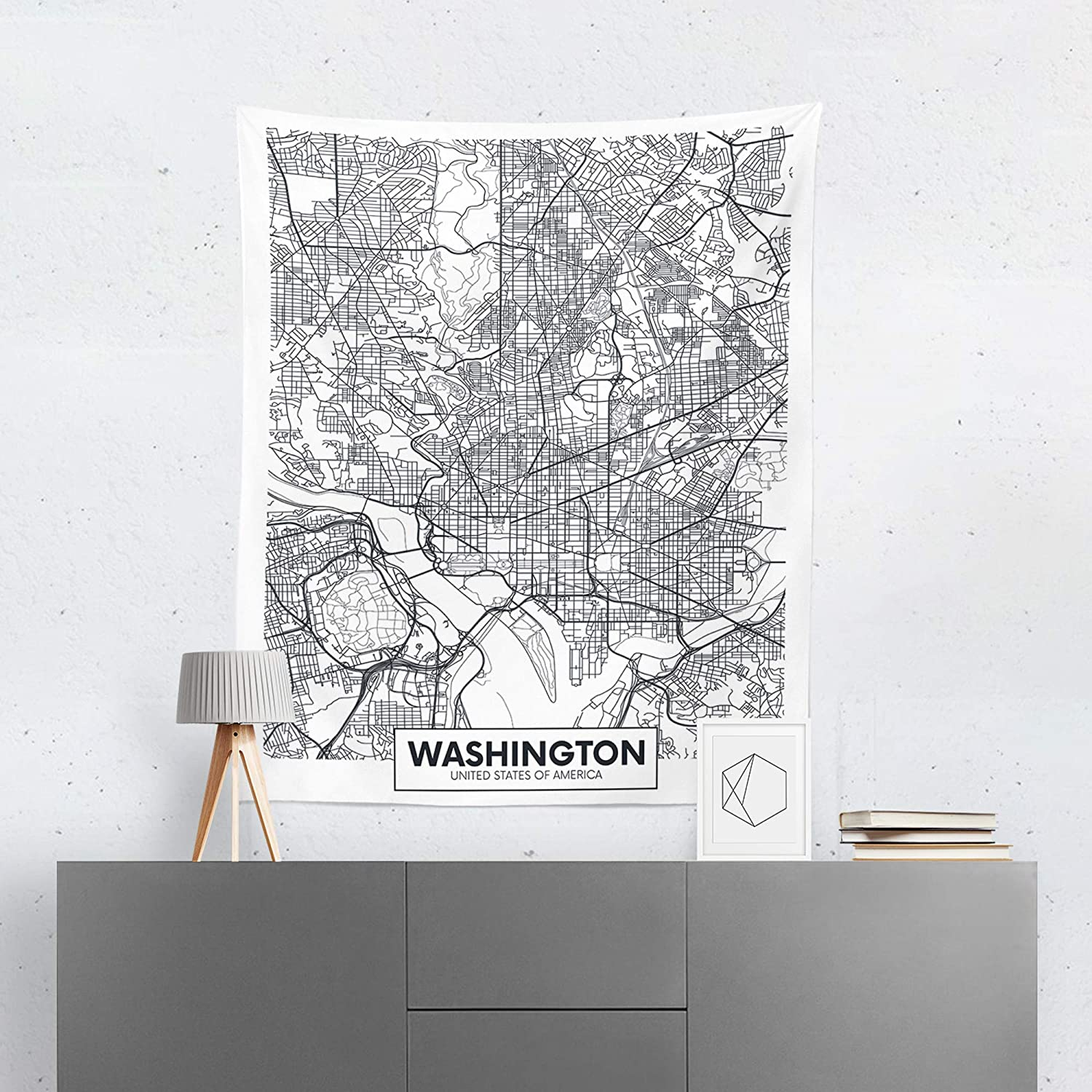 Washington Map Tapestry Wall Hanging Street Maps DC Tapestries Dorm Room Bedroom Decor Art Small to Giant Sizes Printed in the USA