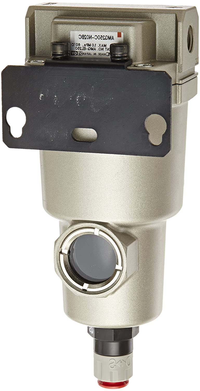 SMC AMG250C-N02BC Water Separator, N.C. Auto Drain, 750 L/min, 1/4' NPT, Mounting Bracket 1/4 NPT