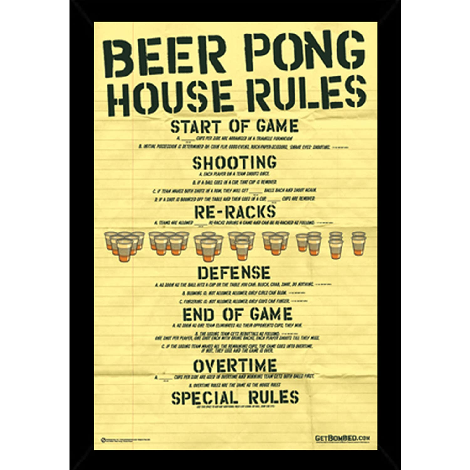 Amazon.com: Beer Pong - House Rules Poster in a Black Poster Frame ...