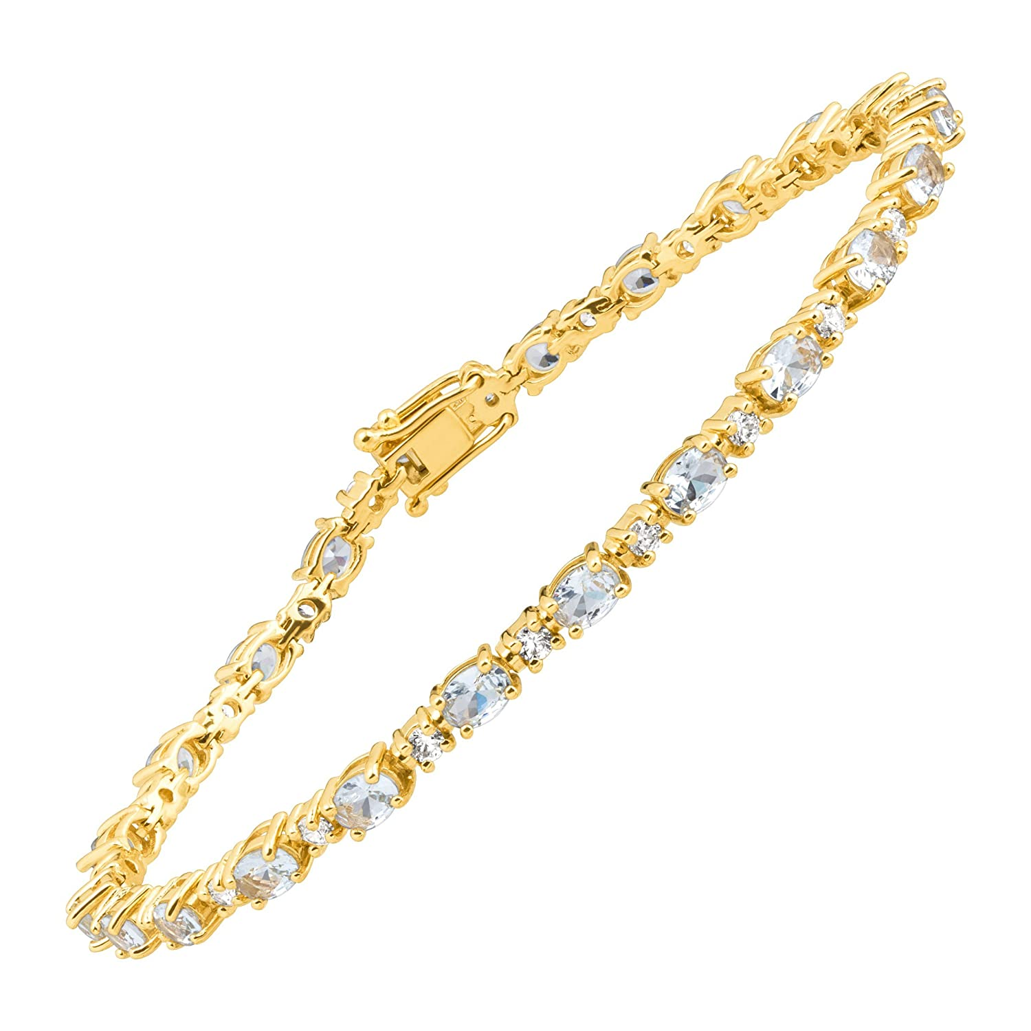 5 7/8 ct Simulated Aquamarine Tennis Bracelet with Cubic Zirconia in 14K Gold-Plated Sterling Silver