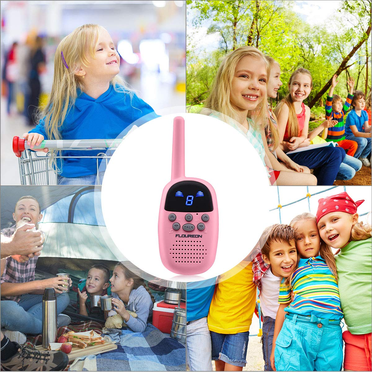 Spronto Kids Walkie Talkies 9 Channel Two Way Radio Twins Walkie Talkies FRS/GMRS Handheld Interphone Long Range for Trips Outdoor Activities (Pink) by Spronto (Image #7)