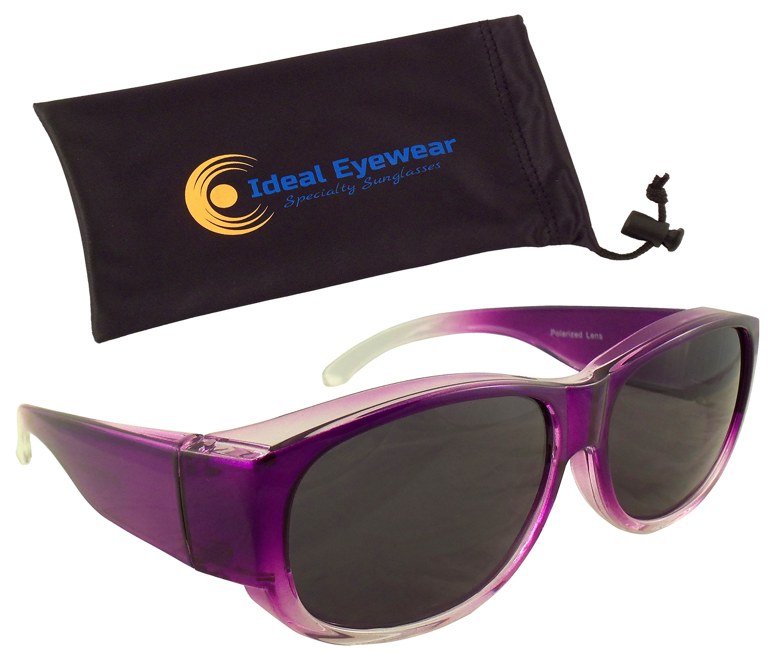 Womens Ombre Fit Over Sunglasses by Ideal Eyewear - Wear Over Prescription Glasses - Over Eyeglasses - Polarized Lenses - Light and Comfortable - Case Included (Purple with case, Polarized)
