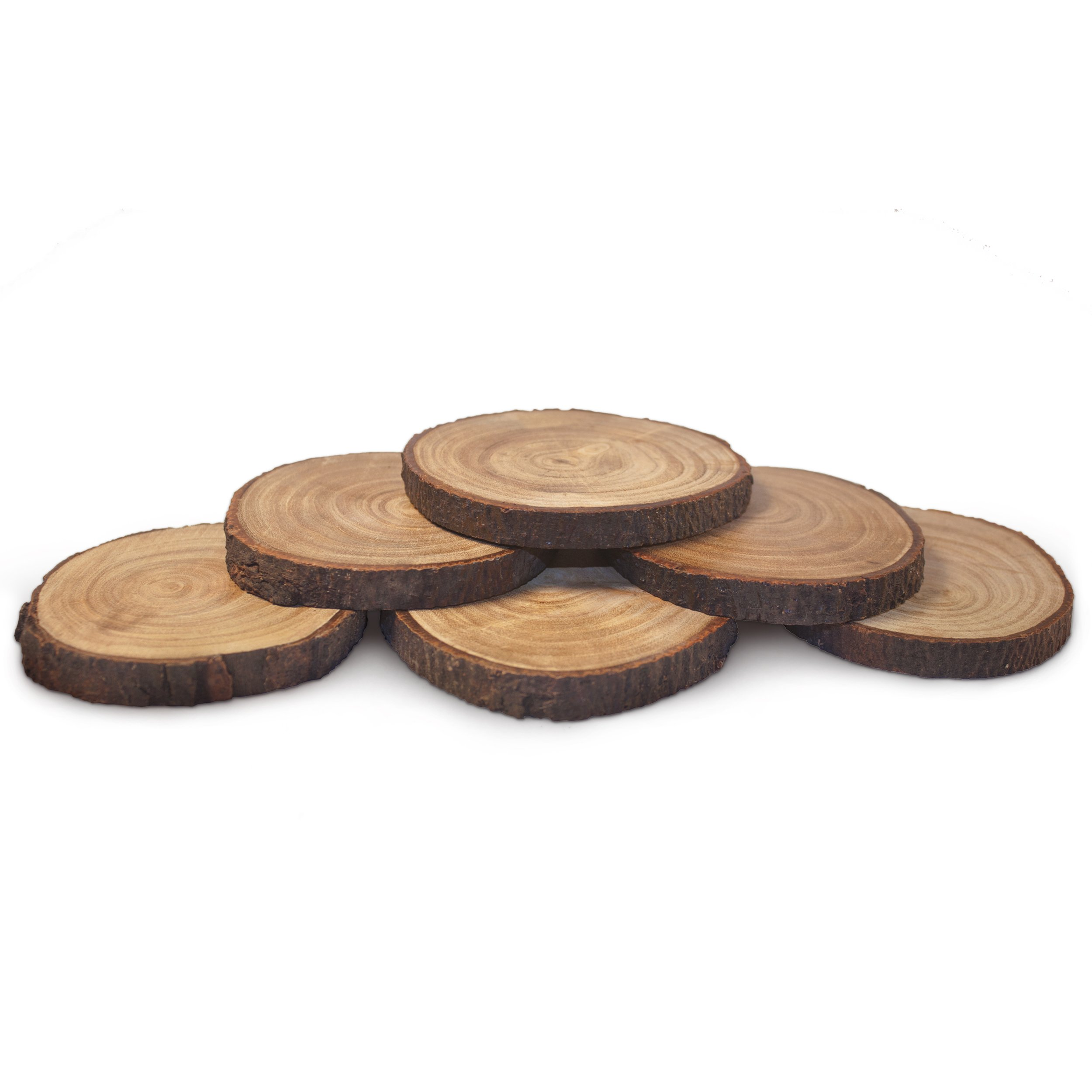 Natural Wood Coasters Set - Real Poplar Wood Slices - Coated in Polyurethane for Surface Protection While Adding an Authentic Rustic Feel to Your Home - Set of 6 - By PoplarCoasters