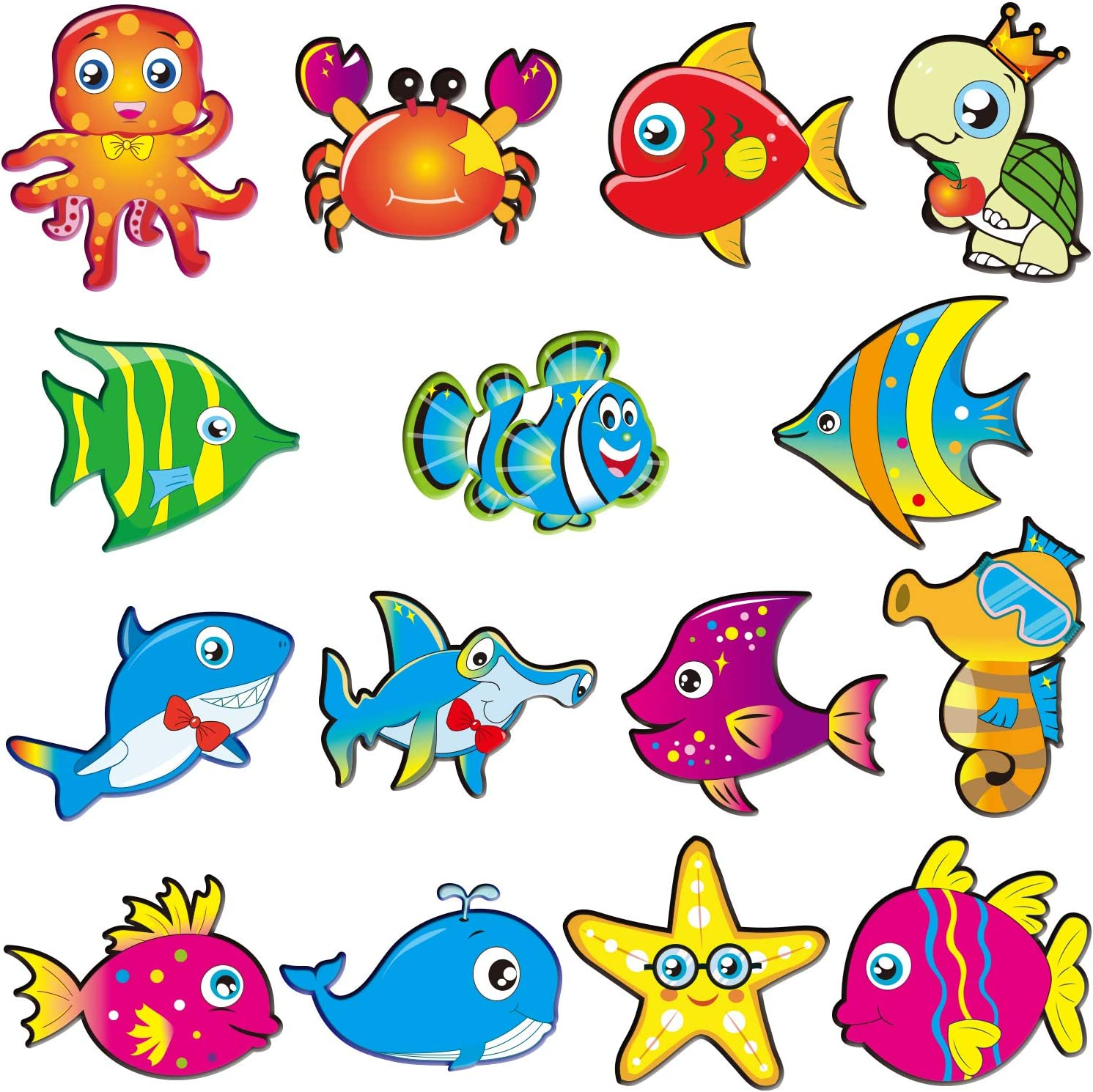 60 Pieces Sea Animals Cut-Outs Fish Classroom Accents Cutouts Ocean Themed Party Cutouts Classroom Decoration Cutouts with 120 Pieces Glue Dots for Classroom Bulletin Board