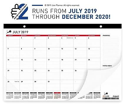 December Calendar 2020.Lion Planner Desk Calendar 2019 2020 Large Monthly Planning Desk Pad Calendar 17x11 Best For Home School And Office Superior Ink Bleed