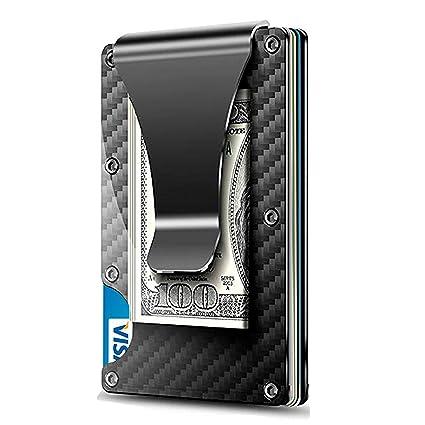 WeeDee Minimalista Billetera, Tarjetas de Crédito Slim Moda RFID Bloqueo Monedero de Fibra Carbon, Mini Fundas para Cartera ID,Tarjetero Crédito ...