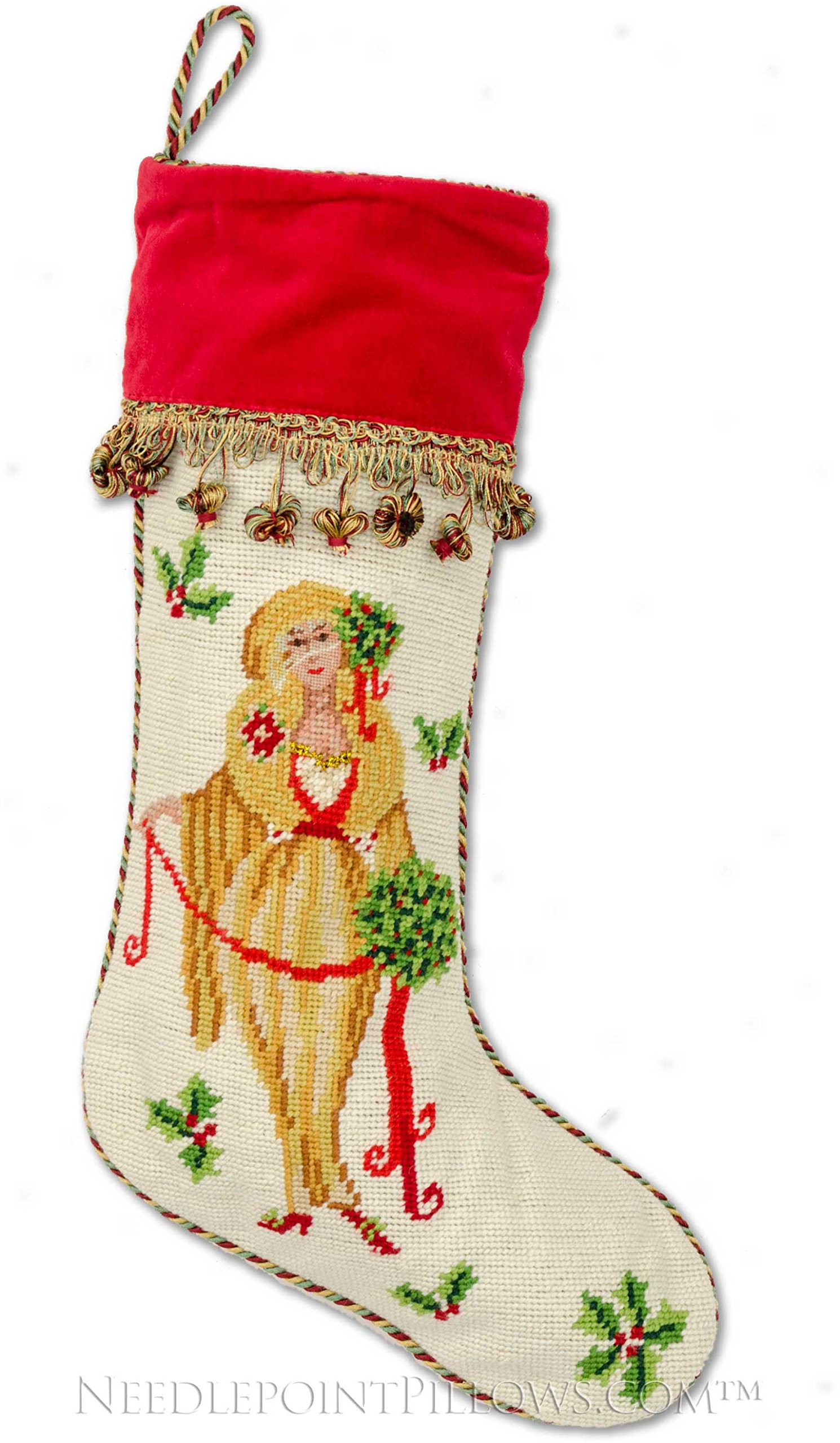 Limited Edition Handmade 100% Wool Decorative Designer Holiday Nutcracker Lady Christmas Needlepoint Stocking. 12'' x 18''. (Not A Kit)