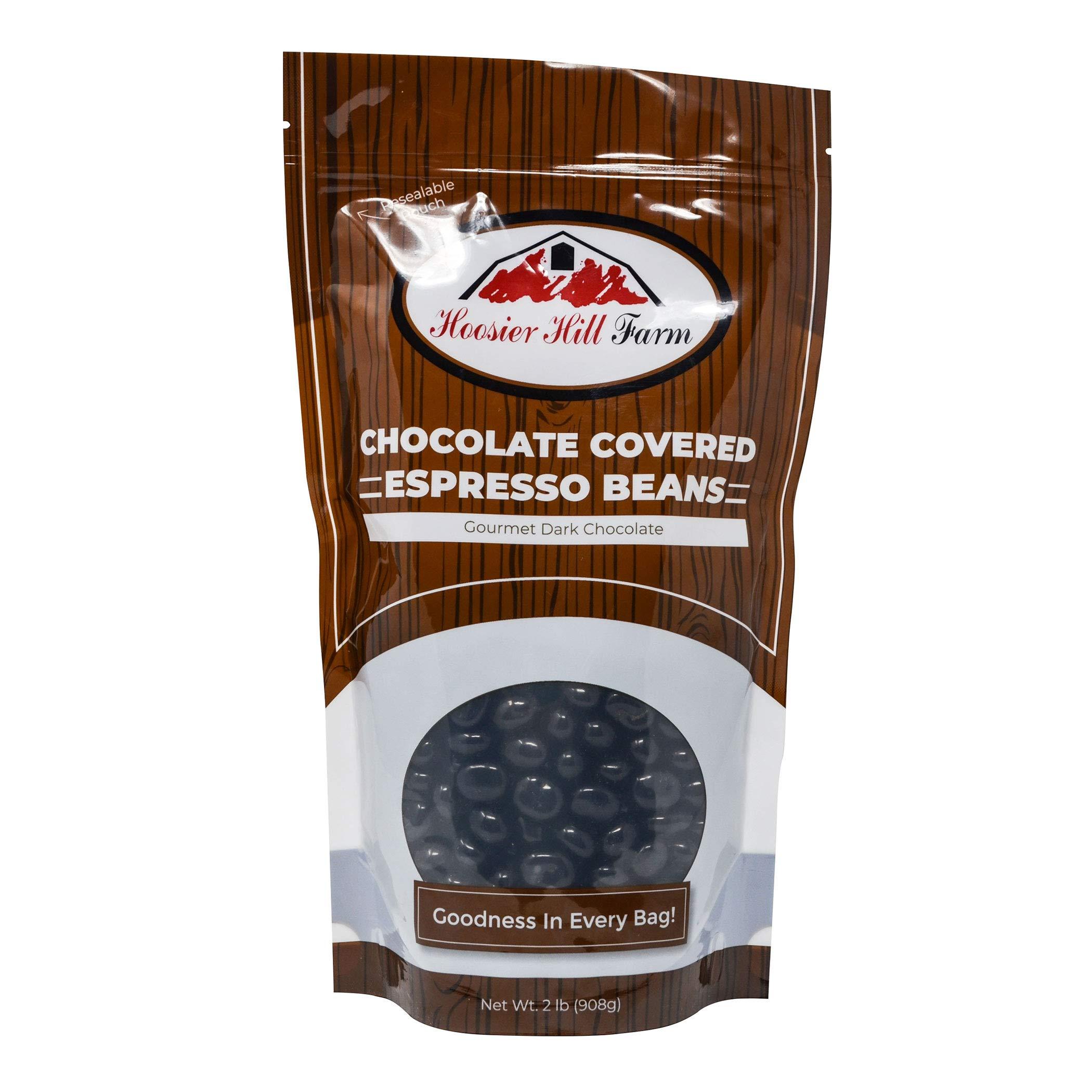 Hill Farm Gourmet Dark Chocolate covered Espresso Beans (2 lb Bag), 32 Ounce by Hoosier Hill Farm