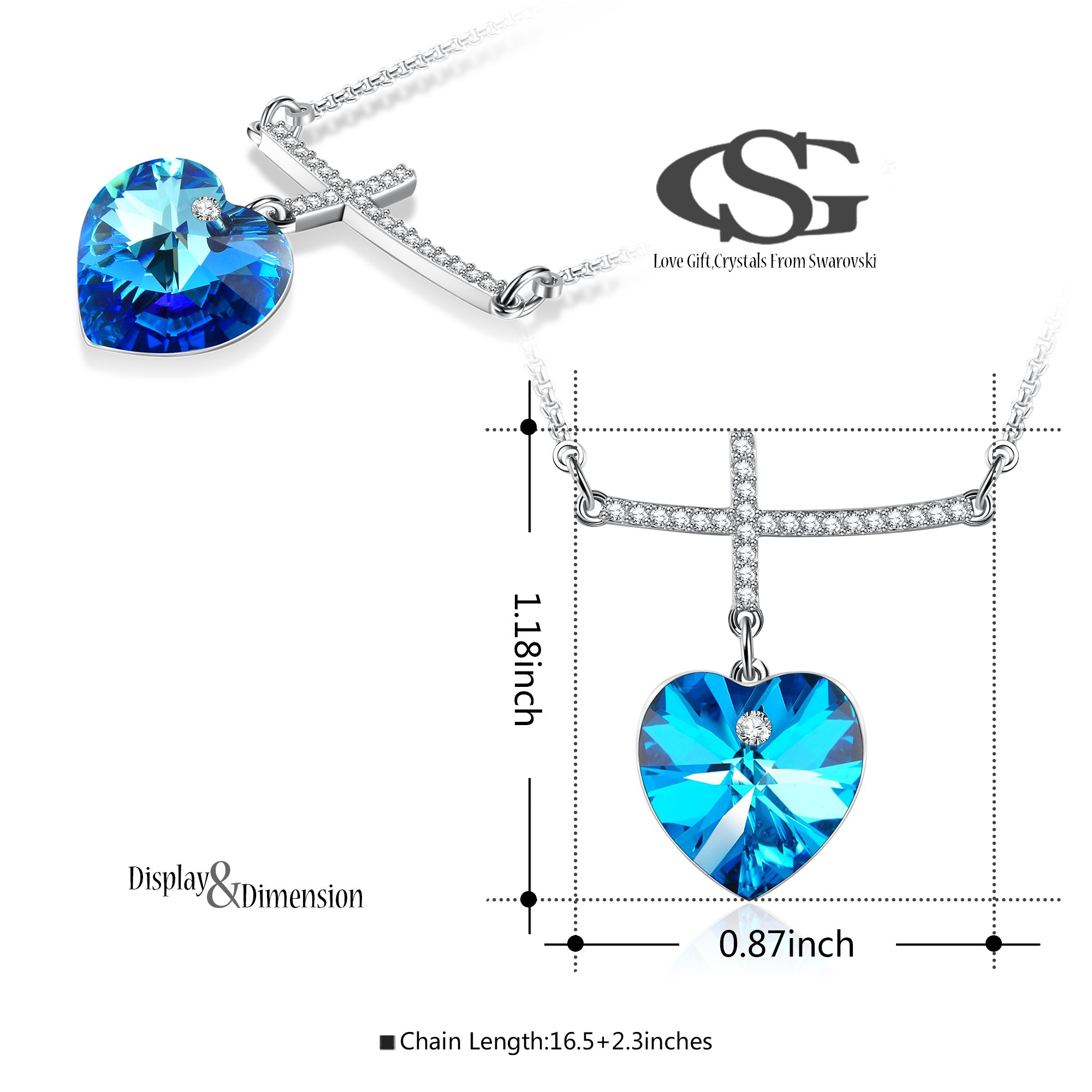 GEORGE SMITH My Prayer Cross Pendant Necklace Diamond necklaces Blue Crystal from Swarovski,Women Jewelry Gifts for her (Blue-2)